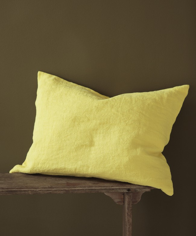 coussin lin jaune fluo