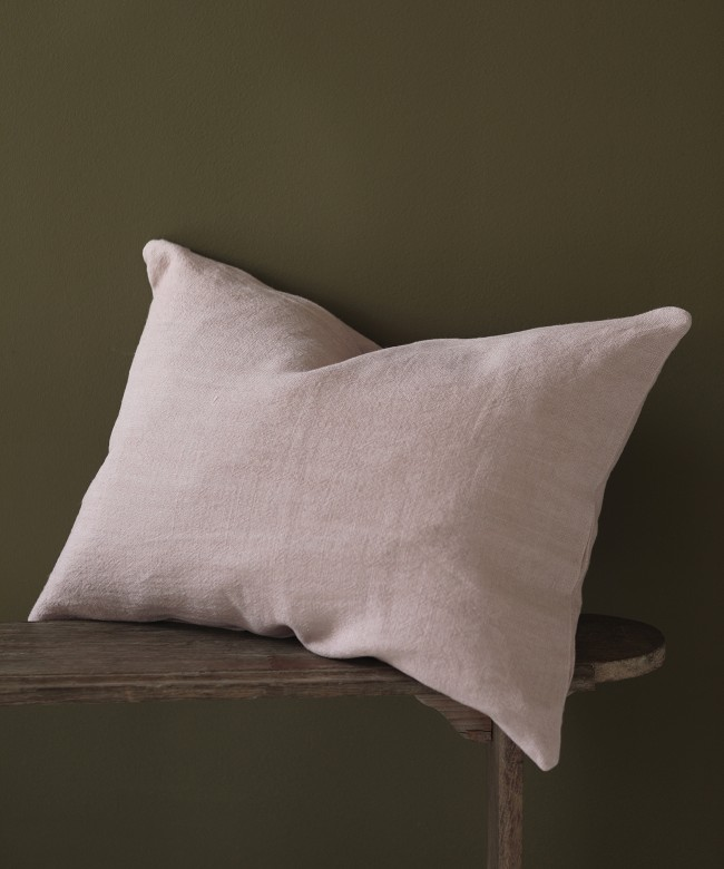 coussin lin rose