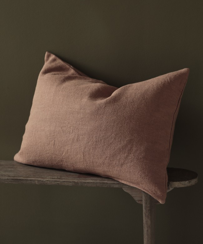 coussin lin terracotta