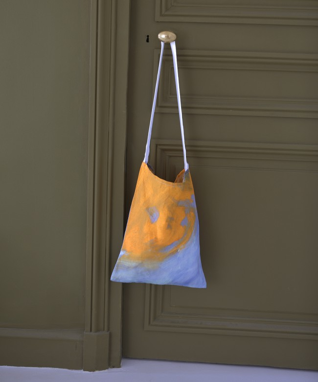 tote bag lin orange piscine