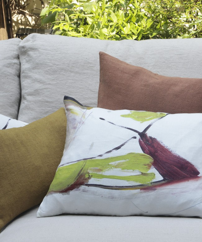 green merlin linen cushion