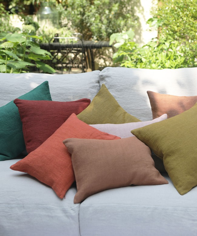 coussin lin rouge