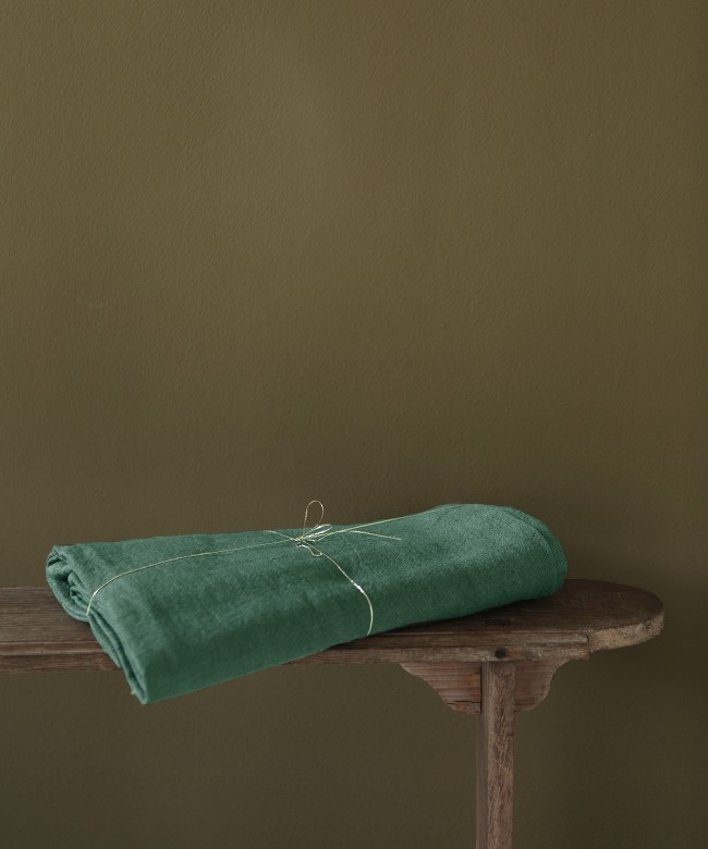 green linen tablecloth