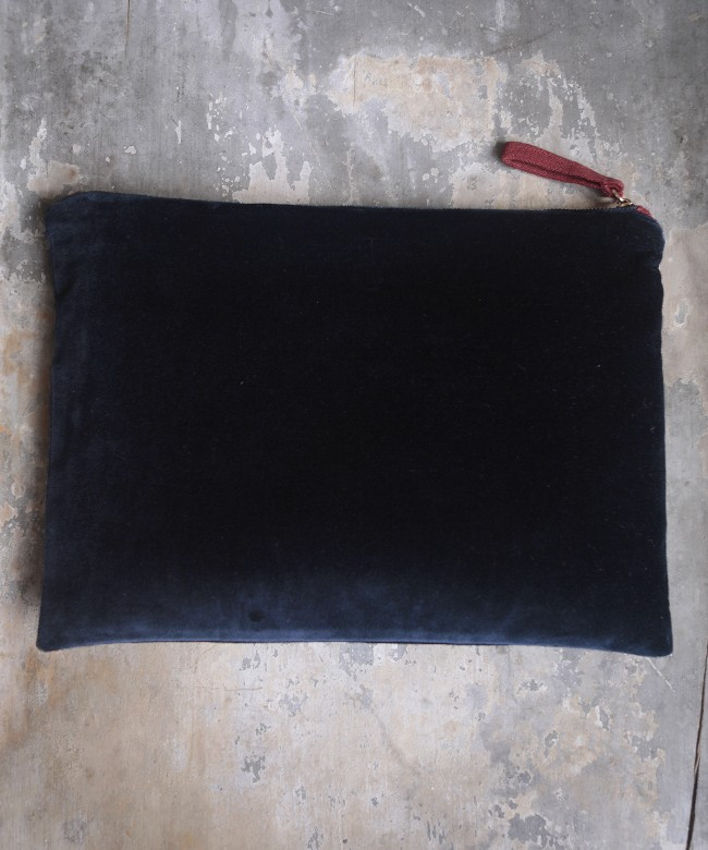 Deep sea blue velvet purse