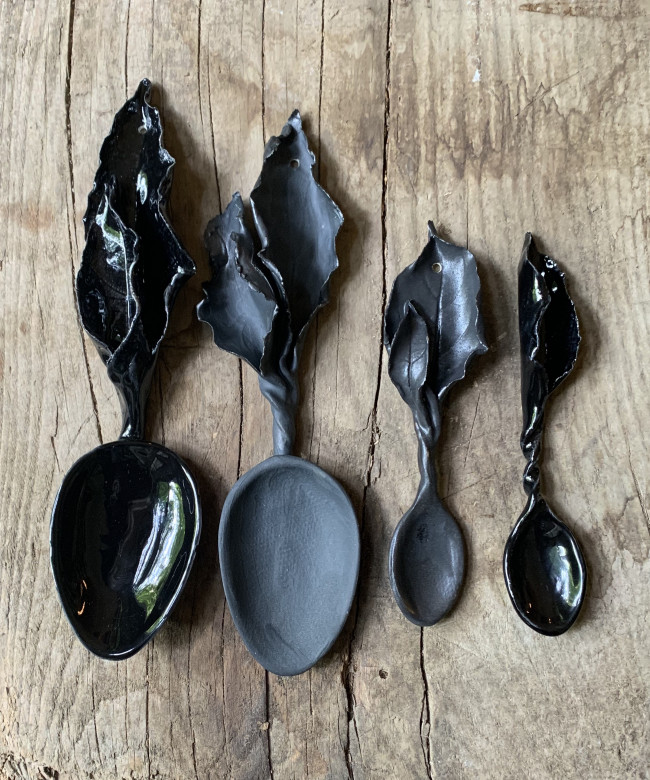 small matt black leaf spoon