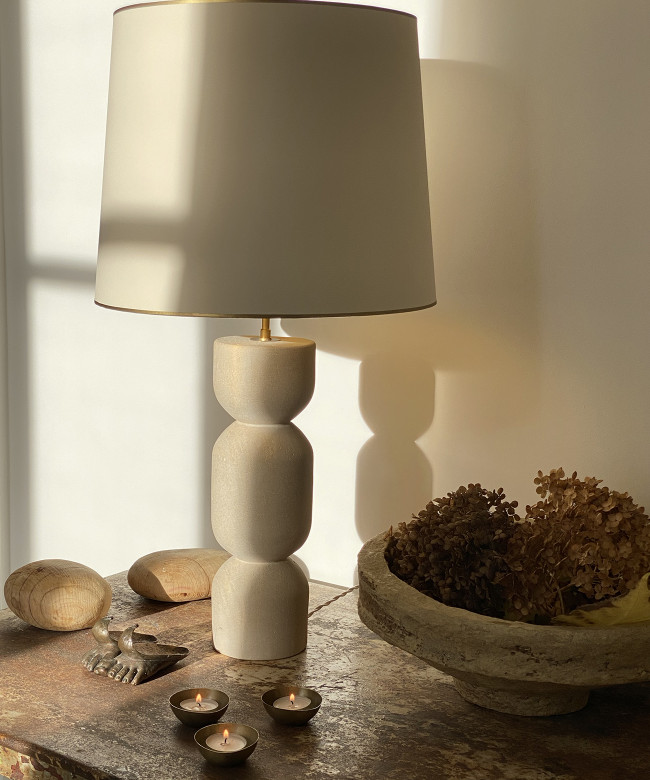 lampshade offwhite gold and stone lamp