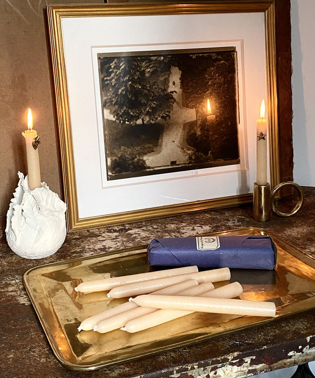 ivory conic candles