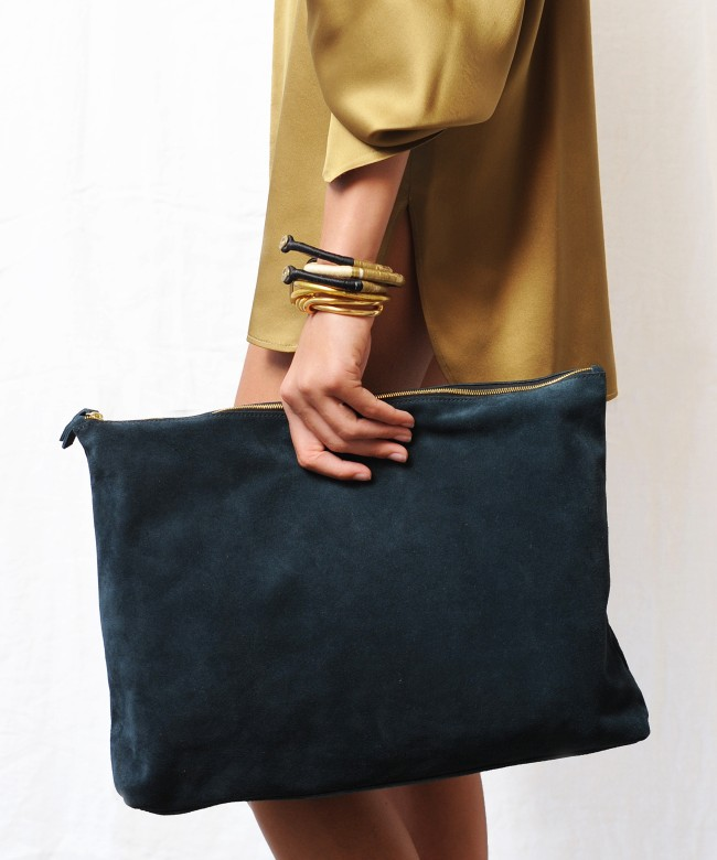 Clutch Bag STEPH green night suede