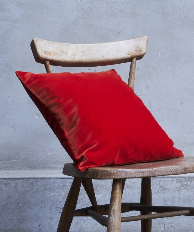 coussin velours corail