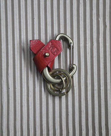 red carabiner ribbon key ring