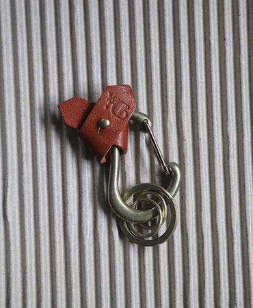 brown carabiner ribbon key ring