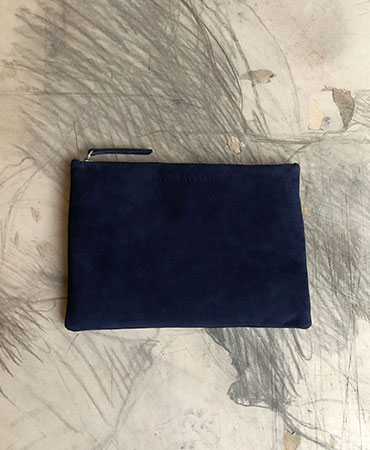 navy leather clutch bag M