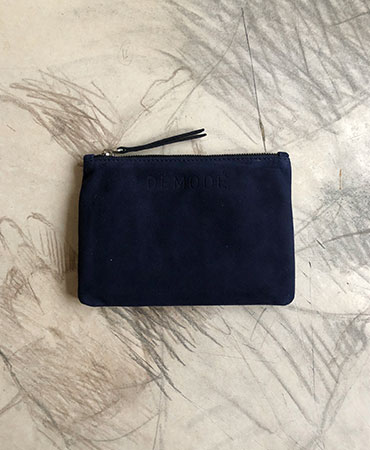 navy leather clutch bag S