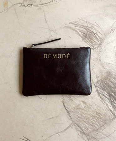 dark brown leather clutch bag S