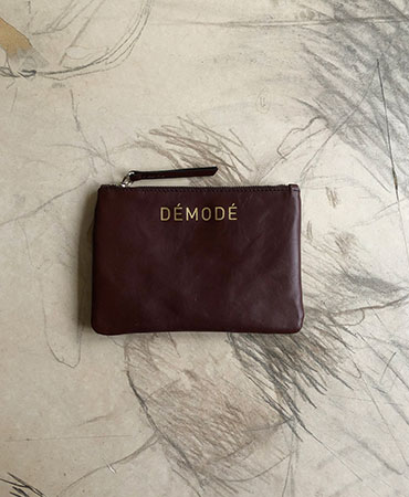 burgundy brown leather clutch bag S